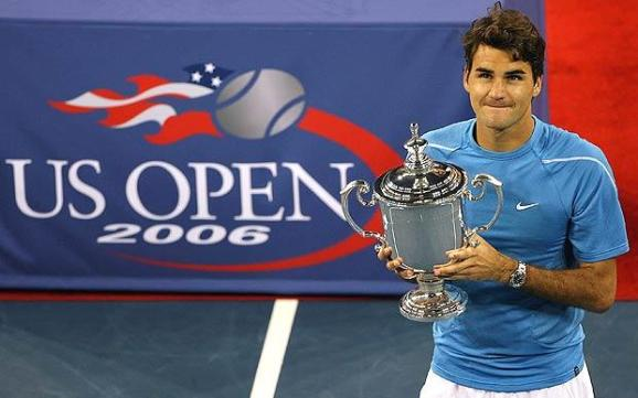 Image result for Roger Federer US Open trophy (2004, 2006 and 2007).